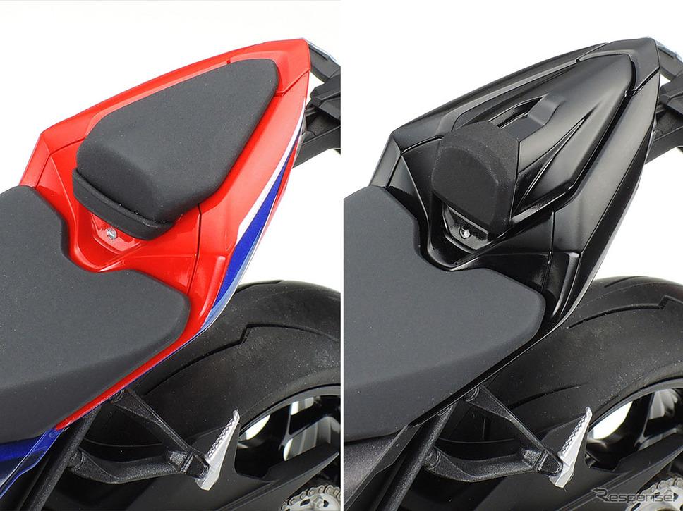 シートカウルには標準のタンデムシートに加えて、オプション設定のシングルシートパーツも用意《写真提供 タミヤ》