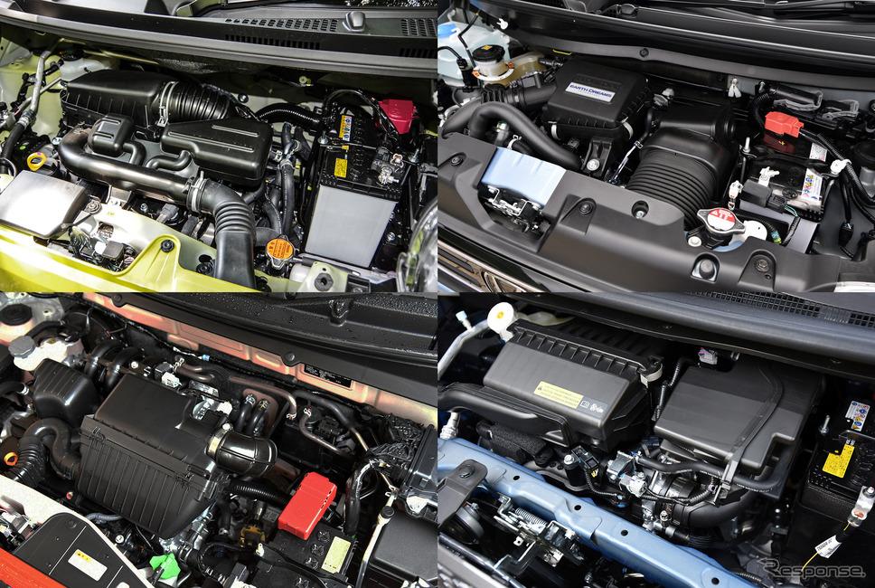 軽自動車主要4メーカーの660ccエンジン。「軽自動車のエンジンはぜんぶ同じでいい」と清水和夫氏は語る。