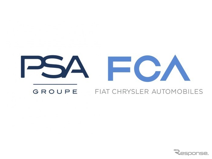 PSA(左)とFCAの従来のロゴ《inage by PSA Group》