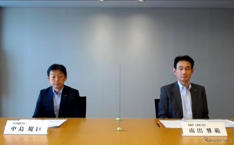 村田製作所のオンライン会見の様子。左が中島規巨社長《写真:オンライン画面から》