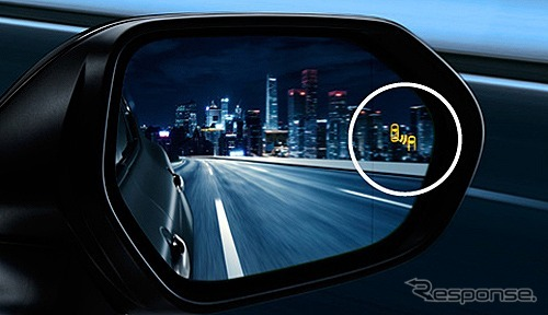 ブラインドスポットモニター<BSM>ドアミラーLEDインジケーター部《写真提供 トヨタ自動車》