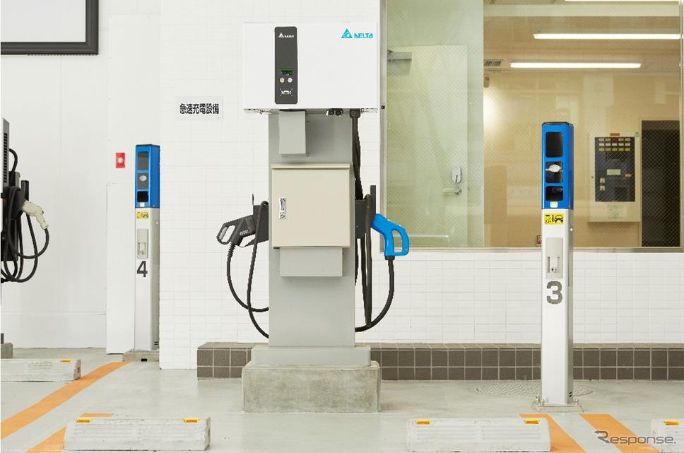 Delta EV Charging Station、EV充電器&駐車場車番認証センサ《写真提供 デルタ電子》