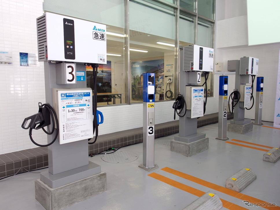 Delta EV Charging Station、EV充電器&駐車場車番認証センサ《写真撮影 高木啓》