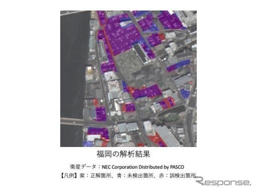 今回開発したプログラムを使った衛星データの解析結果(福岡)《画像提供 さくらインターネット》