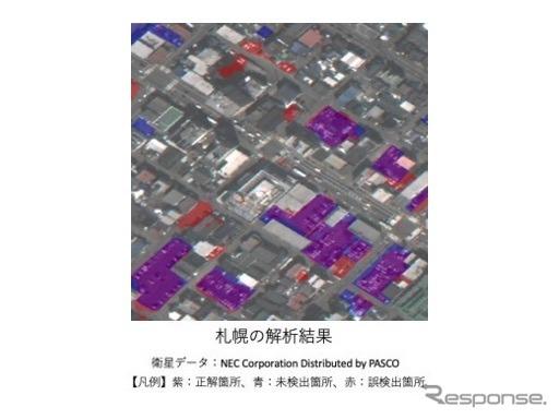 今回開発したプログラムを使った衛星データの解析結果(札幌)《画像提供 さくらインターネット》