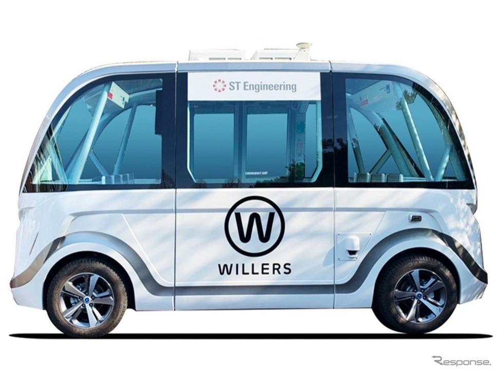 地域の公共交通・サービスと連携した自動運転の実用化。実験車両のベース車両:NAVYA ARMA《写真提供 日本工営》