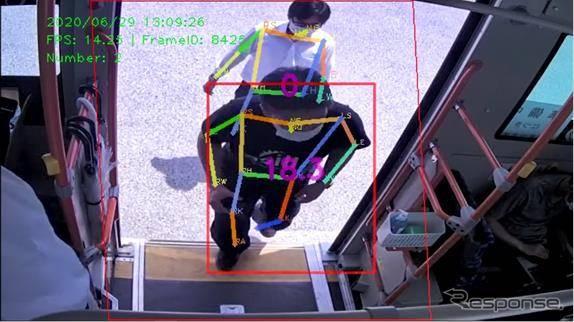 転倒のリスクが高い乗客を赤枠で通知《写真提供 アイシン精機》