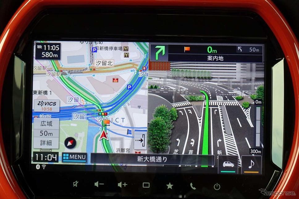 メモリーナビはパイオニア製。政令都市では詳細な3Dマップで進行方向を案内する《写真撮影 会田肇》