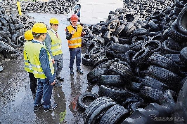 熱分解油に変換される廃タイヤ《写真提供 BASF》