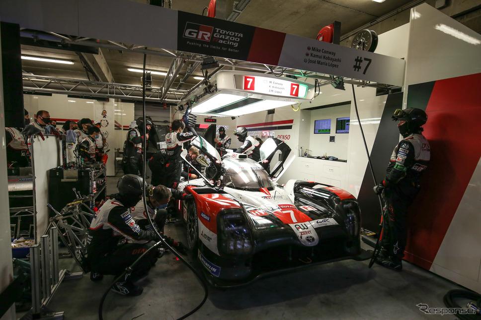 ガレージに入ったトヨタ7号車(ルマン24時間レース2020)《photo by Toyota GAZOO Racing》
