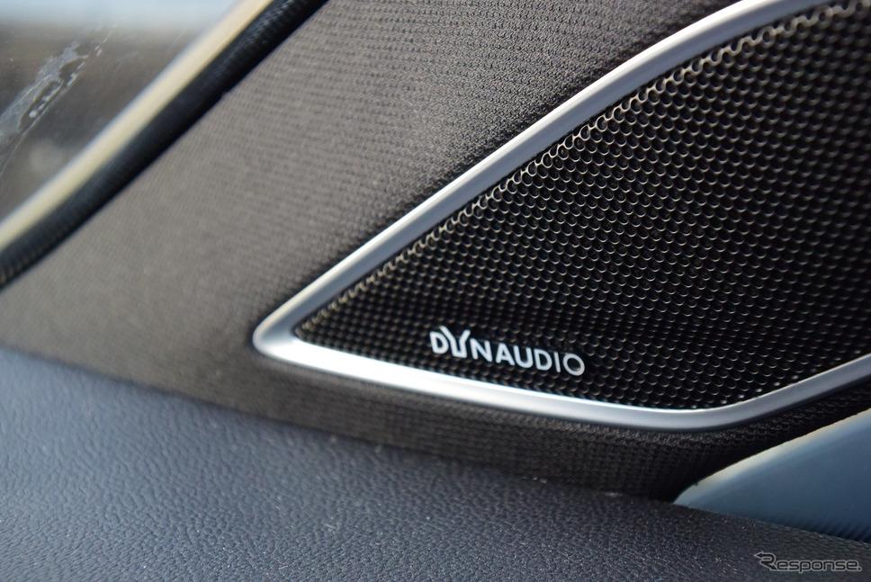 試乗車「マイスター」にオプション設定されるディナウディオのプレミアムサウンドシステムが装備されていた。ノーマルに比べてハイパワーだった。《写真撮影 井元康一郎》