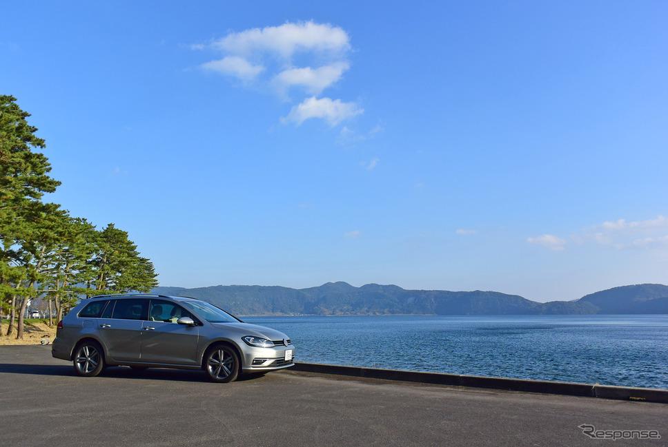 VW ゴルフ ヴァリアントTDI ハイラインマイスター。薩摩半島南部、池田湖にて。《写真撮影 井元康一郎》