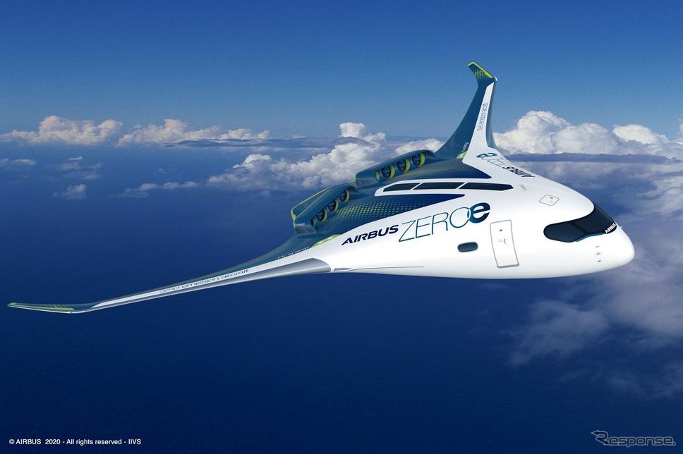 エアバスの水素燃料(ゼロエミッション)研究、「ZEROe」コンセプト機のひとつ(イメージ)。《Image by Airbus》