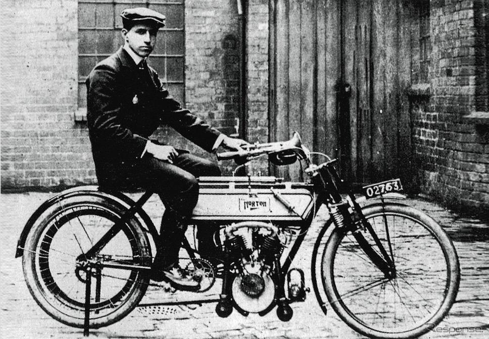 1907年、プジョー製Vツインエンジンを搭載したノートン《写真提供 aidea》