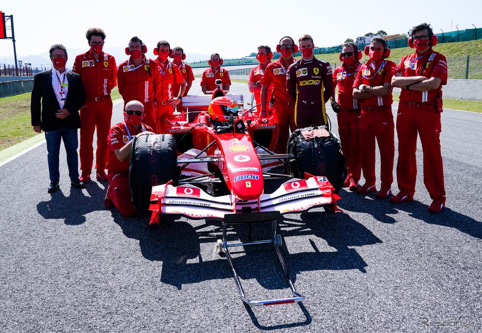 F1トスカーナGPでは、ミックが父のF1最終戴冠マシン「フェラーリF2004」でデモランを披露した。《写真提供 Ferrari》