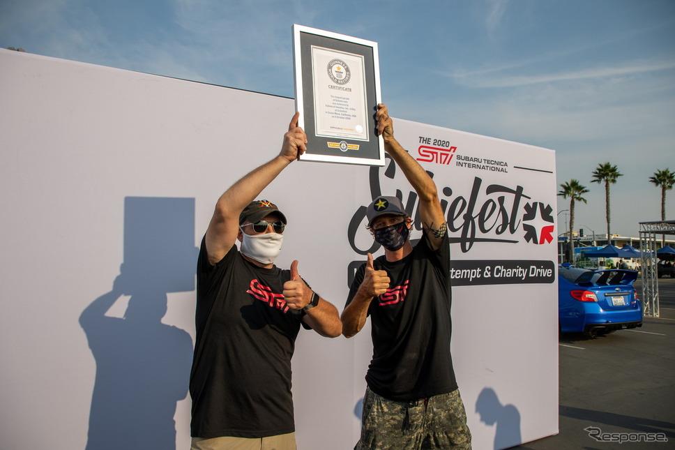 スバル車だけによるパレードのギネス世界記録チャレンジの様子《photo by SUBARU》