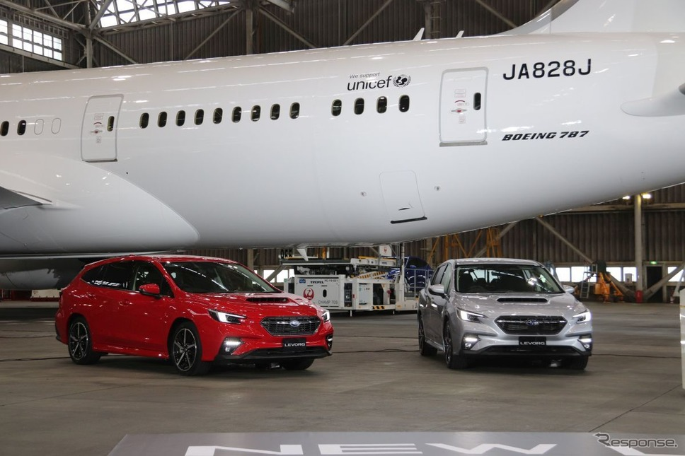 スバル・レヴォーグ新型:JALとコラボ発表会《写真撮影 中尾真二》