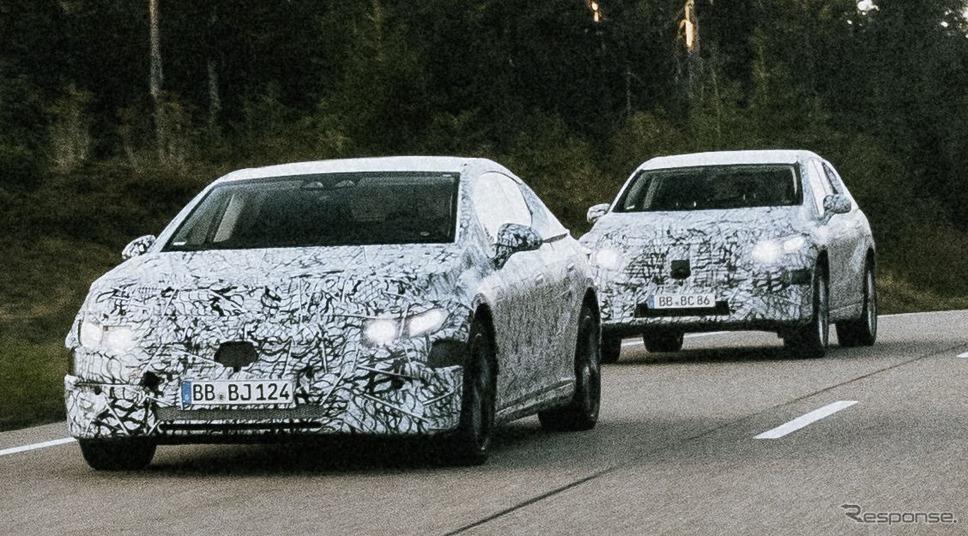 メルセデスベンツ EQE とEQE SUV のプロトタイプ《photo by Mercedes-Benz》