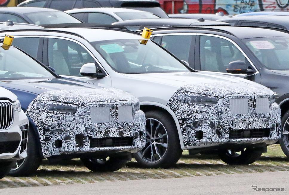 BMW X3 M40i 改良新型プロトタイプ(写真右)。左はX4のプロトタイプ《APOLLO NEWS SERVICE》