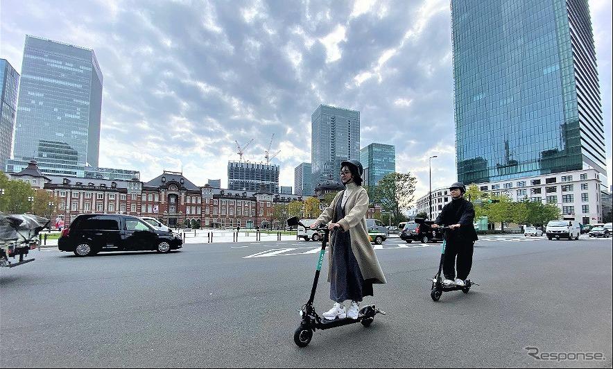 東京都心で電動キックボード公道走行《写真提供 Luup》
