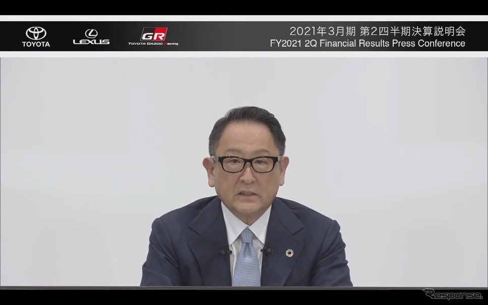 第2四半期決算を発表する豊田章男社長《オンライン会見から》