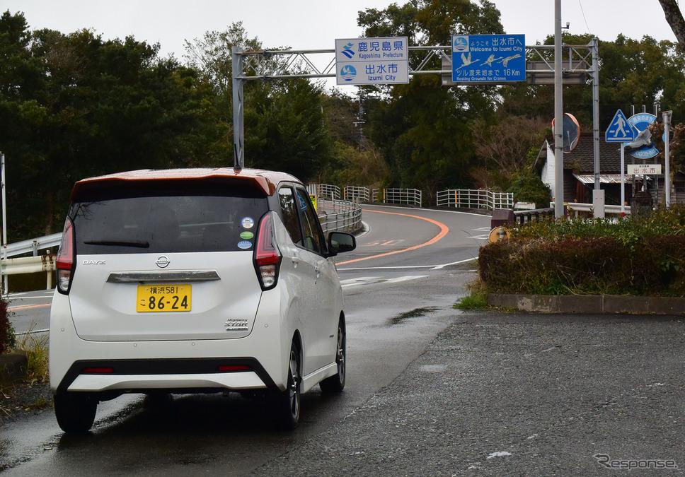 南九州自動車道は熊本〜鹿児島県境区間が未成。開通したあかつきにはこの国道3号線の県境エリアも交通過疎になることだろう。《写真撮影  井元康一郎》