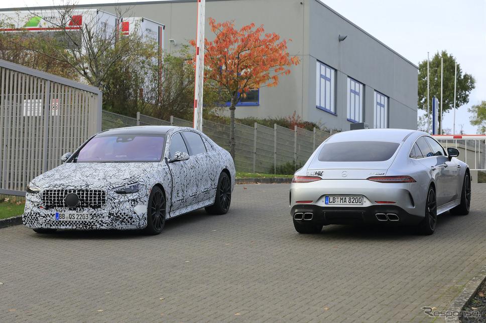 メルセデス AMG GT 4ドアクーペ 改良新型プロトタイプ スクープ写真《APOLLO NEWS SERVICE》