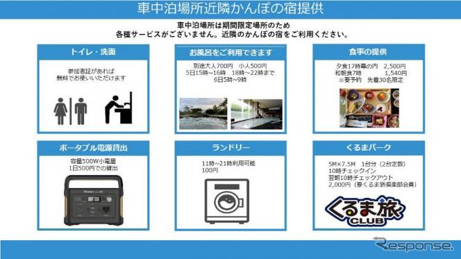 車中泊スペースで不足されるサービスは近隣施設で補完《写真提供 CarLife Japan》