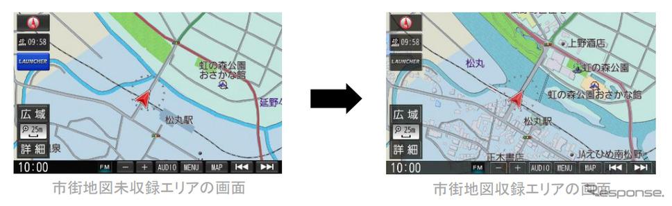 市街地図未収録エリアの画面(右)、市街地図収録エリアの画面(左)《図版提供 ゼンリン》