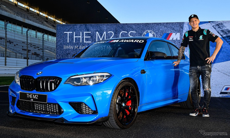 BMW M2 CS とMotoGP 予選最速のファビオ・クアルタラロ選手《photo by BMW》