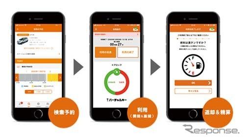 オールタイムレンタカー スマートフォン用アプリ画面《図版提供 イード》