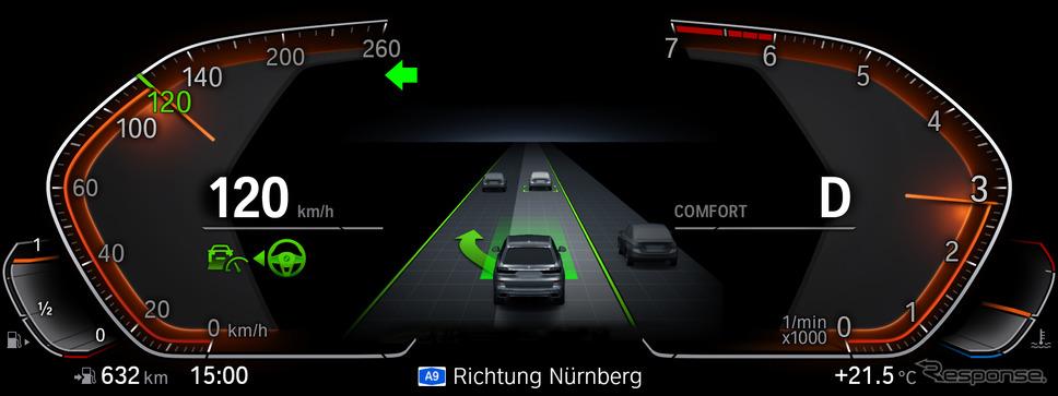 先進運転システムの作動状況をメータークラスターに表示するBMW《photo by BMW》