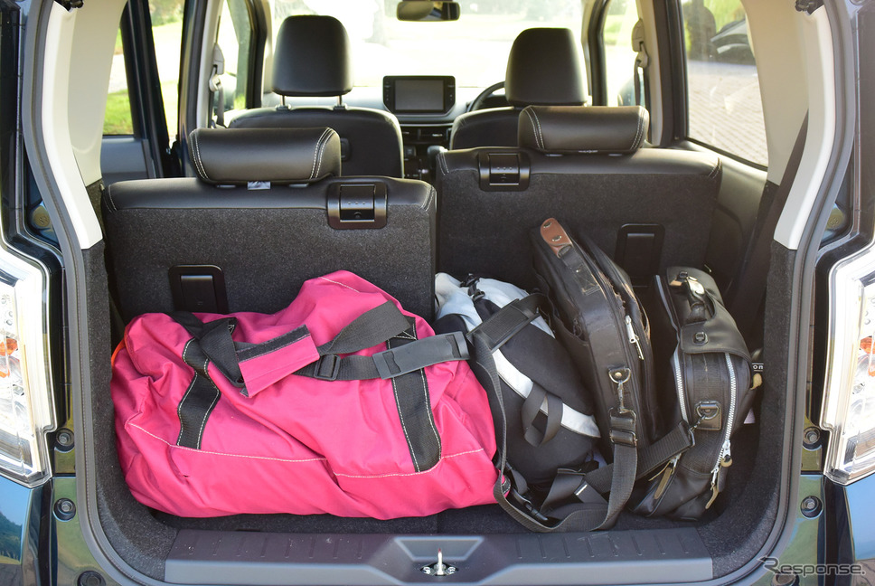 軽自動車でこれくらい手荷物が乗せられれば立派。《写真撮影 井元康一郎》