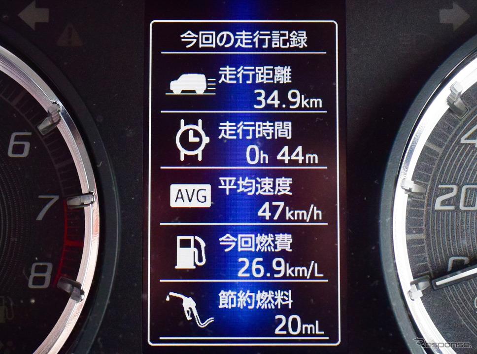 メインスイッチを切るとインパネにドライブデータが表示される。郊外ではこのくらいの燃費が出るのも珍しくなかった。《写真撮影 井元康一郎》