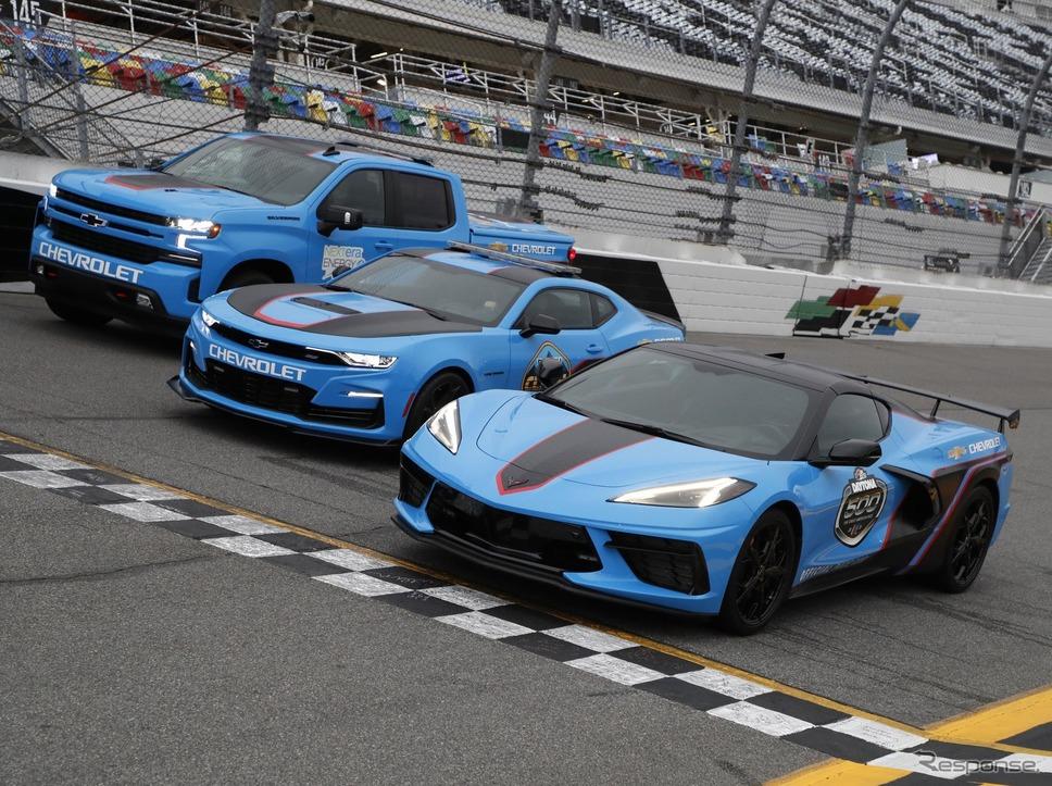 シボレー・コルベット / カマロ / シルバラード のNASCAR開幕戦のペースカー《photo by Chevrolet)》