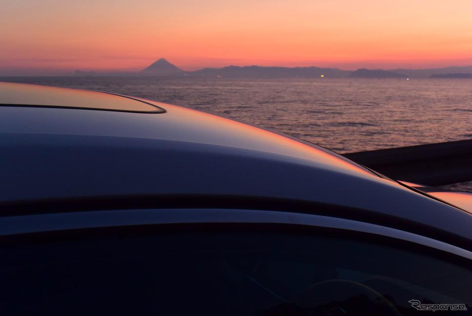 大隅より開聞岳を眺めるの図。《写真撮影 井元康一郎》