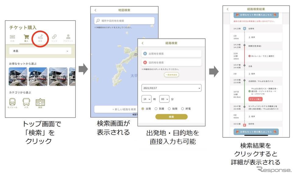 沖縄MaaSアプリのイメージ《画像提供 ゼンリン》