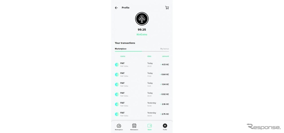 新型フィアット 500を運転するだけで「KiriCoins」がフィアットアプリ内の仮想ウォレットに貯まる《photo by Fiat》