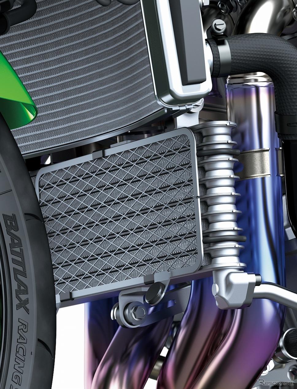 スーパーバイク世界選手権参戦マシンからのフィードバックに基づく空冷オイルクーラー《写真提供 カワサキモータースジャパン》