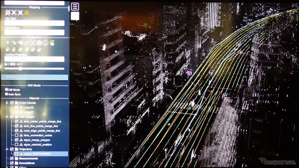 東京都内の環状8号線を点群撮影したもの。駐車車両が測量の障害となることも数多かったという