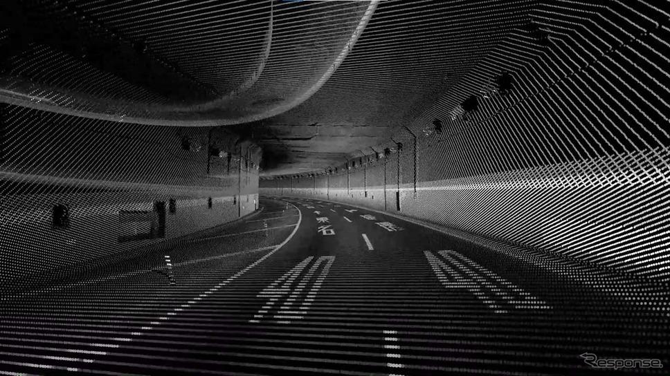 首都高速・池尻大橋JCTの点群データ。路面の情報から周辺尾形状まで見事に取得できている