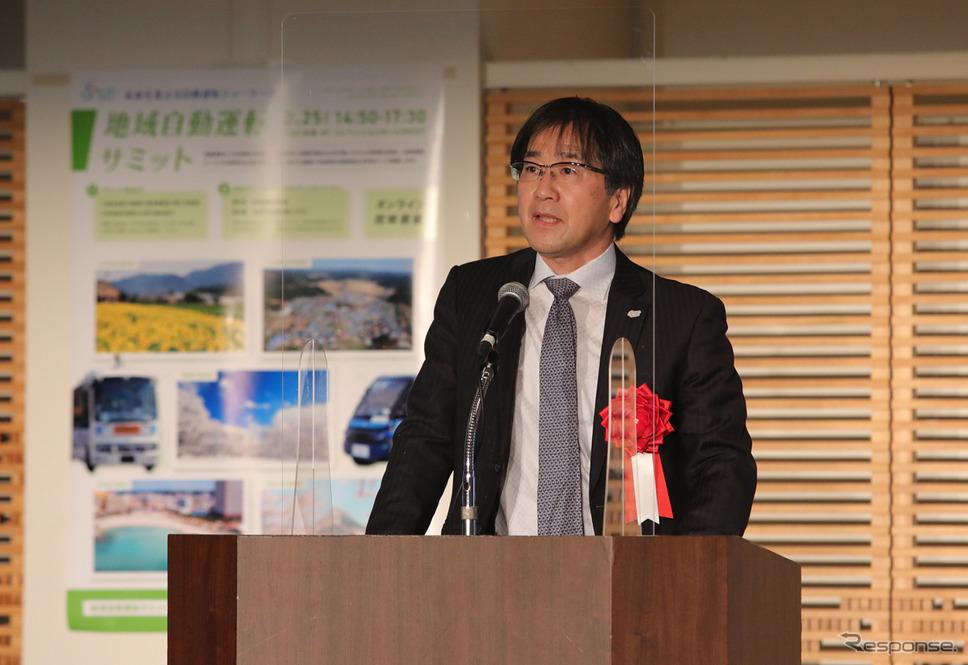 基調講演は、SIP-adus葛巻清吾PD《写真提供 内閣府SIP-adus 地域自動運転サミット》