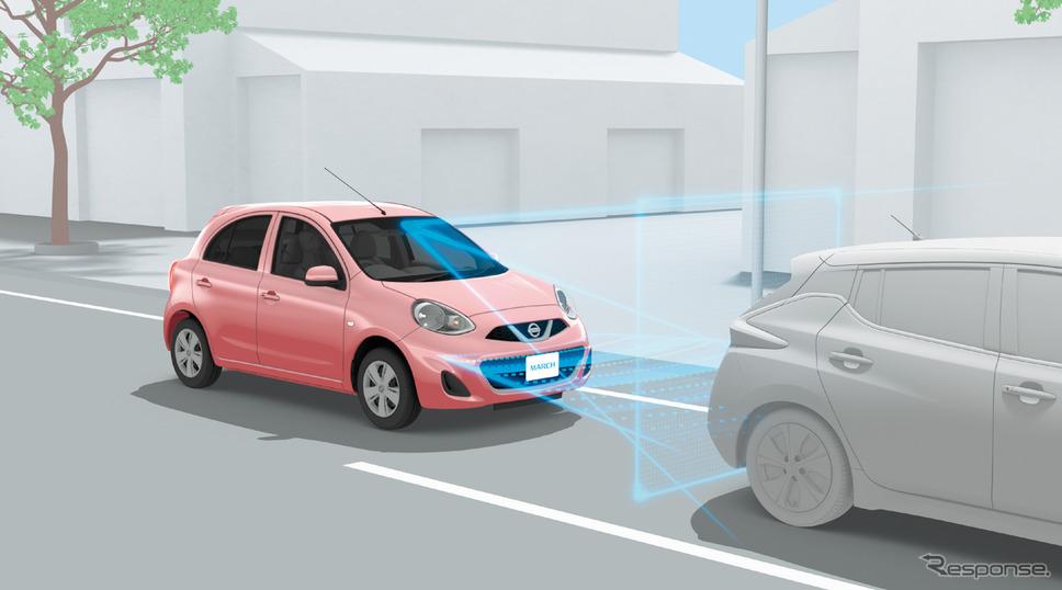 踏み間違い衝突防止アシスト(マーチ)《写真提供 日産自動車》