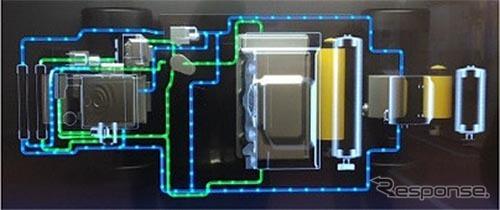 電動車の冷水の流れを紹介する冷却配管モック《写真提供 豊田合成》