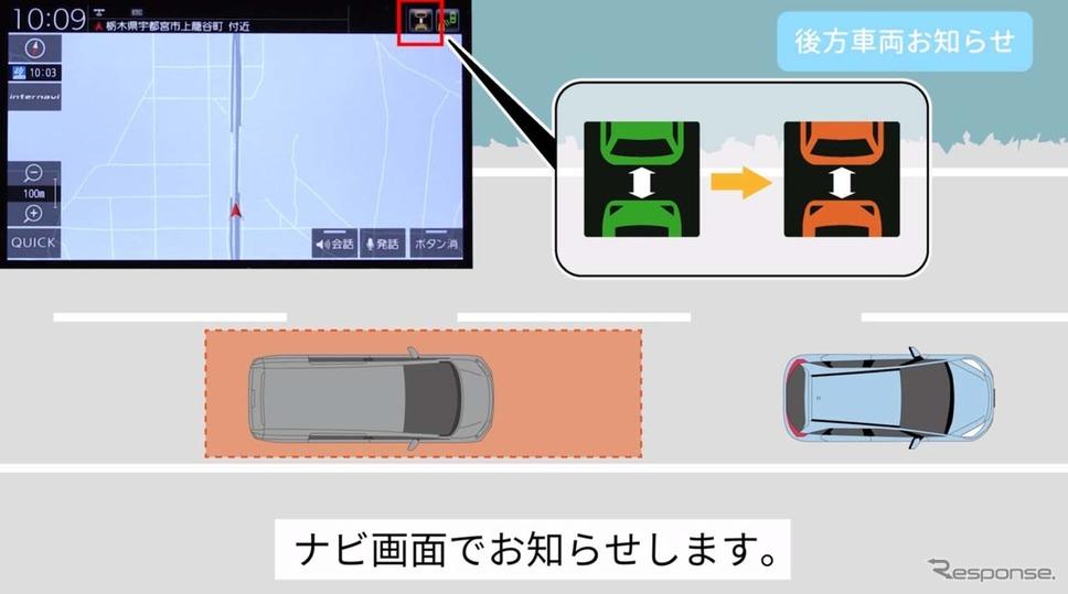 「後方車両お知らせ」機能では一定時間、後続車両が近い距離にいると注意喚起する(出典:ホンダHPより)