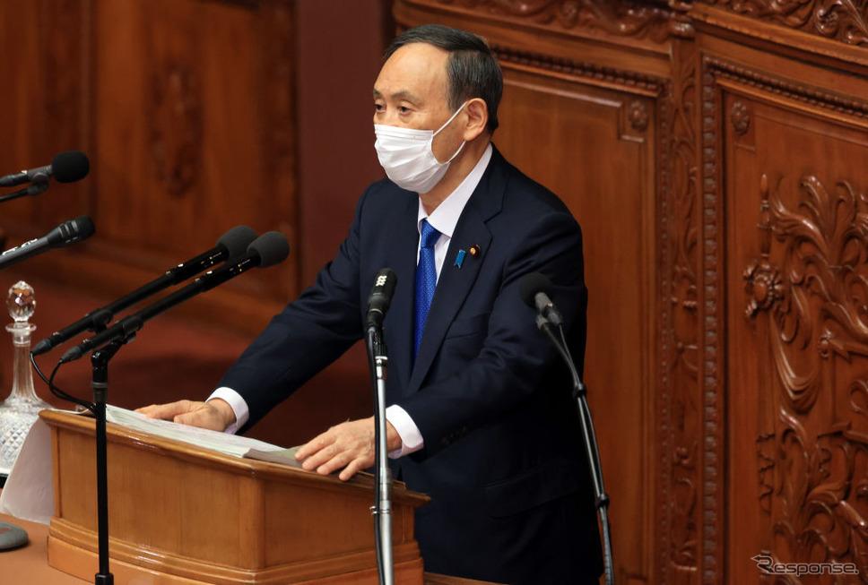菅首相(1月18日)《Photo by YOSHIKAZU TSUNO/Gamma-Rapho via Getty Images/ゲッティイメージズ》