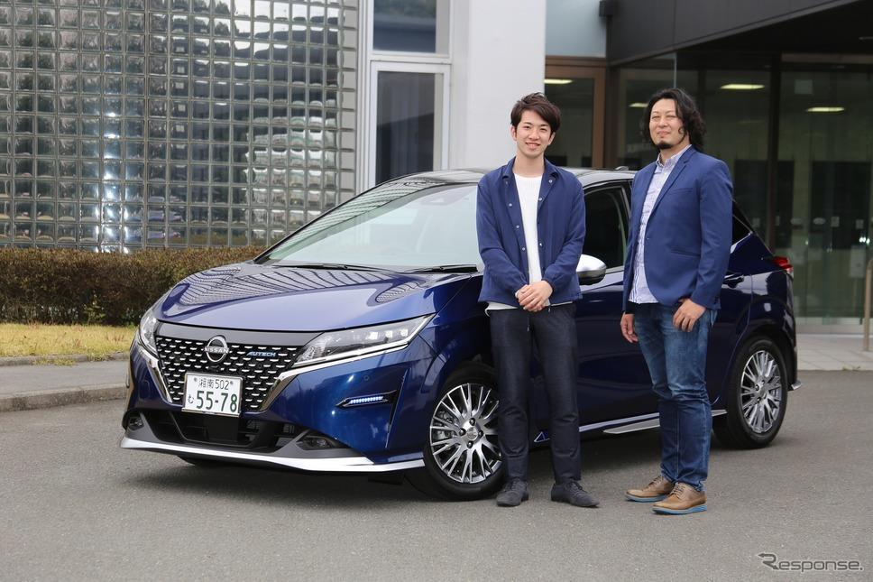 オーテックジャパンデザイン部の若林康二さん(左)と青山雄未さん(右)《写真撮影  内田俊一》