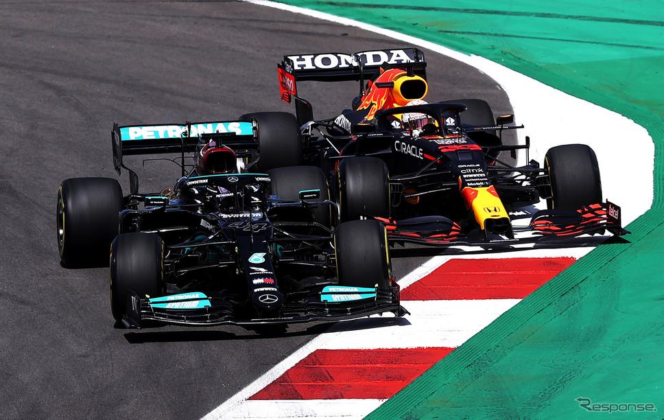 今季、#44 ハミルトンと#33 フェルスタッペンの戦いは長く続いていきそうだ(写真はポルトガルGP)。《Photo (c)Red Bull Racing Honda》