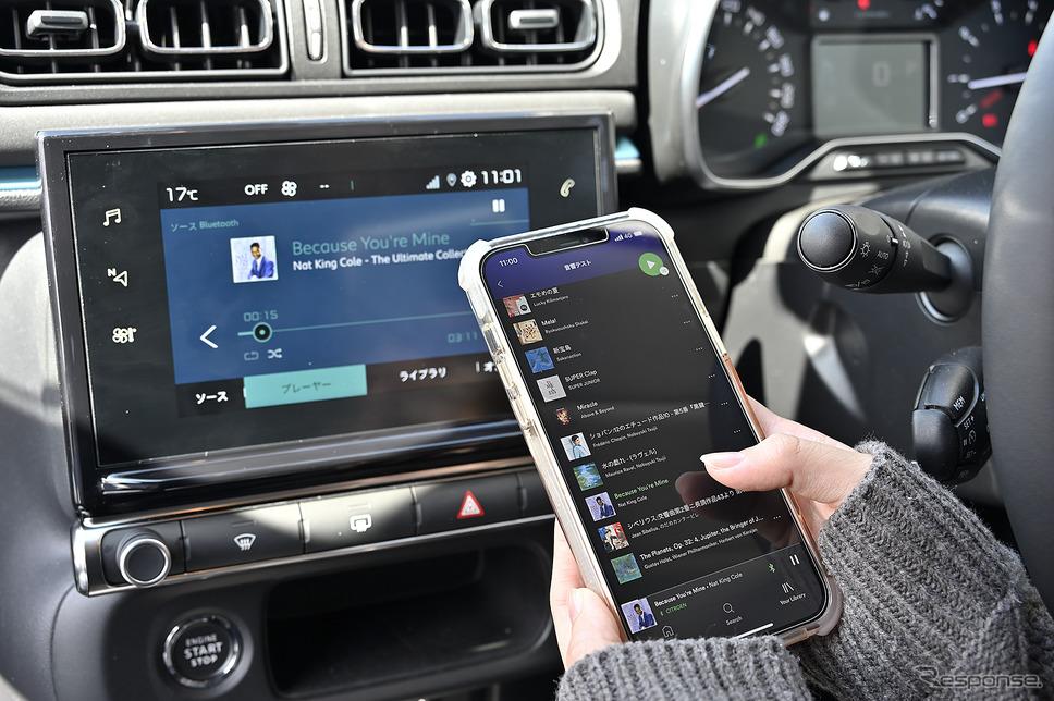 音源ソースは純正オーディオにBluetooth接続で音楽ストリーミングアプリを使用した《写真撮影 雪岡直樹》