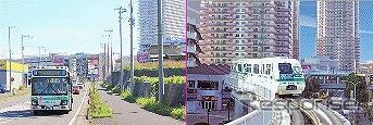 ユーカリが丘コミュニティバス(左)と山万ユーカリが丘線(右)《写真提供 山万》